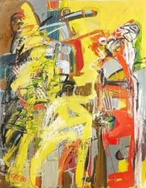 Bild, Vogelgesang, Maler, Bildhauer, Cornelius Richter, 1986, Öl, Leinwand, Kunstausstellung