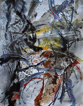 """Abstrakte Komposition """"Alle Wege führen nach Brüssel"""" von Cornelius Richter, 2014, Acryl Gouache auf Büttenpapier"""