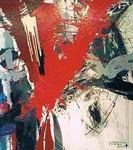 Feuerstele, Maler, Bildhauer, Cornelius Richter, Acryl, Schüttbild, Leinwand