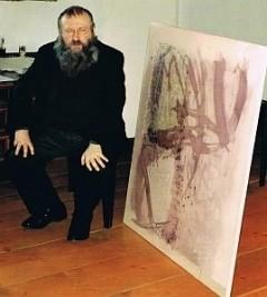 Prof. Hermann Nitsch erhält 1991 das erste Synästhesie-Bild von Cornelius Richter